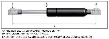 AMORTIGUADOR GAS 60 CM 300 NEWTONS 2